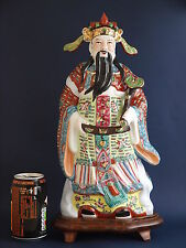 Large Hand Decorated Chinese Famille Rose Figure of Cai Shen, God of Prosperity