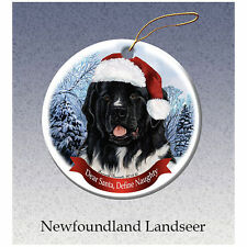 Newfoundland Landseer Newfie Howliday Porcelain China Dog Christmas Ornament