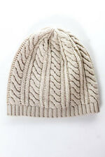Joie Chalk Beige Wool Cable Knit Zorina Beanie Hat Size One Size