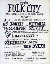 BOB DYLAN REPRO 1961 NEW YORK GERDES FOLK CITY 26 SEPT CONCERT POSTER NOT CD DVD