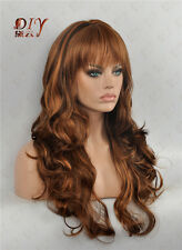 "Curly Brown Diy-Wig Fashion 23"" Long Wavy Women Wig Cos Daily Wear Full Hair"