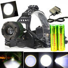 CREE 5000 Lumens Headlamp XM-L T6 LED Headlight Lamp+2x 18650 Battery+Charger