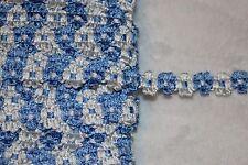 """$1 yard Denim Blue White rococo Daisy Flat sewing craft Doll Trim 1/2"""" wide W43"""
