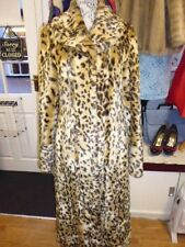 VINTAGE 80'S FULL LENGTH LEOPARD PRINT FAUX FUR COAT SIZE 12 BY FENN WRIGHT
