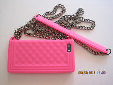 iphone 5, 5s case-neon pink -shoulder cool Chain Bag- Soft Silicone Cover Skin-