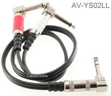 "2ft 1/4"" TRS Stereo Plug to Dual 1/4"" TS Mono Plugs Right-Angle Audio Cable"