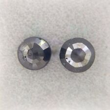 0.73TCW Round Rose cut Jet Black AA Color Loose Natural Diamond pair for earring