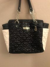 (Pre-owned) Betsey Johnson Bone / Black / Star Studded / Heart Quilted Tote