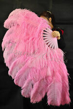 "Large 2 Layers 34""x 60"" Pink Ostrich Feather Fan Burlesque with Gift Box"
