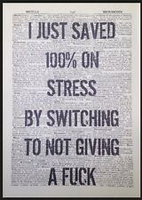 Stress Quote Funny Print Vintage Dictionary Page Wall Art Picture Quirky