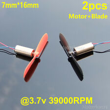 2pcs Mini Coreless DC Motor+Blade DC 3.7v Helicopter Quadcopter RC Drone Spare