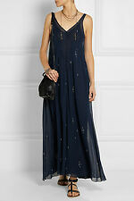 Isabel Marant Étoile Cassidy Printed Chiffon Maxi Dress in Midnight Blue FR 42