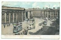 IRELAND - DUBLIN, COLLEGE GREEN, BANK of IRELAND, TRINITY COLLEGE Postcard TRAMS