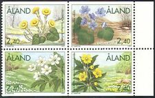 Aland 1997 Spring Flowers/Plants/Nature/Anemone/Coltsfoot 4v set blk (n41528)