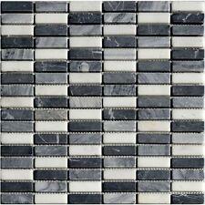 Natursteinmosaik Stick Schwarz Grau Granit Fliesen Mosaik Boden Wand