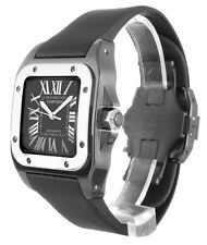 Cartier Santos 100 Mid Black Nylon Band Automatic Men's Watch W2020008 New Orig