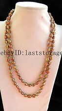 "freshwater pearl brown 9-10mm baroque necklace 43"" nature wholesale beads gift"