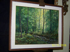 Mid Century Original Oil On Panel Forest Stream Landscape Painting Artist Signed