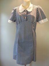 1960s 70 Blue Gingham Mini Dress Rockabilly Retro Mod Scooter Sizzler Vintage 16