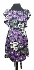 MONSOON FUSION Dress Size 10 Black w/Purple White Floral