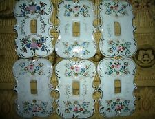 Lot of (6) Vintage Porcelain Arnart Light SWITCH PLATE COVERS Japan Floral 7310