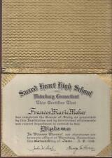 1942 SACRED HEART HIGH SCHOOL DIPLOMA, WATERBURY, CONNECTICUT