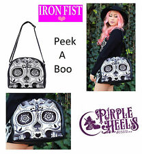 Iron Fist Peek A Boo Black Dia de los Muertos Sugar Skull Tote Bag