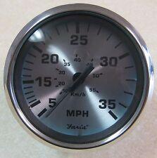 Faria Spun Silver w/ SS Bezel Domed Lens Boat Gauge Speedometer 35 MPH SE9401B