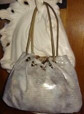Gorgeous Silver & Gold & Snow Colored Snake Skin Leather Hobo Bag by Chez