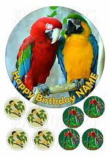 """PARROTS BIRDS CAKE TOPPER ROUND EDIBLE ICED ICING FROSTING 7.5"""" +8 CUPCAKE"""