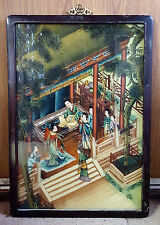 Chinese Wood Framed Hand Painted Reverse Glass Painting