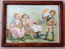 Antique VICTORIAN Edwardian Children with Fans A WARM DAY Print Wood Frame
