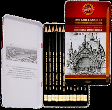 KOH I NOOR TIN SET 12 SOFT GRAPHITE ARTIST SKETCHING DRAWING PENCILS 8B to 2H