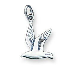 .925 Sterling Silver Polished and Antiqued Finish Flying Seagull Bird Charm