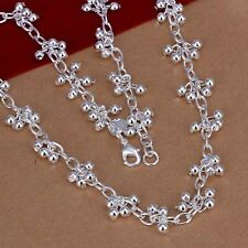 925 Sterling Silver Smooth Grape Beads Chain Necklace US Ship