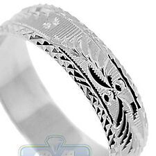 925 Sterling Silver Diamond Cut Pattern Mens Womens Wedding Ring 6 mm