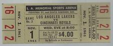 1961-62 NBA CINCINNATI ROYALS @ LOS ANGELES LAKERS FULL UNUSED BASKETBALL TICKET
