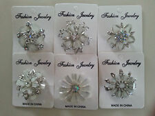 6 pc  wholesale lot all white brooches pins rhinestone wedding