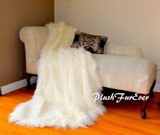 Best Quality Mongolian Fur Throw Blanket White Faux Fur Sheepskins Comforter 5x6