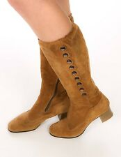 60s 70s camel tan suede leather buttoned knee boots gogo mod