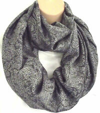 Silk (50%) & Viscose Lrg Silver Grey & Black Paisley Infinity Scarf Snood New