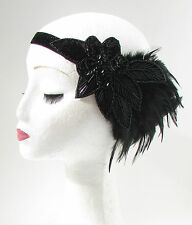 Black Sequin Beaded Feather Headpiece 1920s Headband Flapper Great Gatsby 616