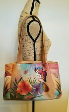 ANUSCHKA Leather Satchel Handbag Floral Handpainted Butterfly with Dustbag