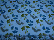 3 Yards Cotton Fabric - Quilting Treasures Waverly So Chic Ginkgo Leaves Blue