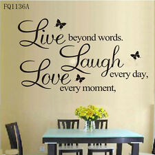 New Live every moment Laugh every day Love beyond Art Wall Sticker Decals Decor