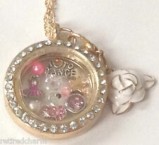 ❤️18KGP FLOATING CHARM Locket CHAIN LOT LOVE TO DANCE �� ~Will FIT Memory OWL❤️