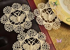 "4"" Vintage 1 Doz/12P Beige Round Hand made Bobbin lace Cotton Doily Butterfly"