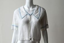 Vintage 1910-1920s White Cotton Blouse with Blue Gingham Trim