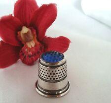 Alter Fingerhut 800 er Silber mit blauem Glaskopf old silver Thimble / ap 584
