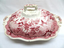 1822-1841 R Hall England Parisian Chateau Pink Red Transferware Casserole w/ Lid